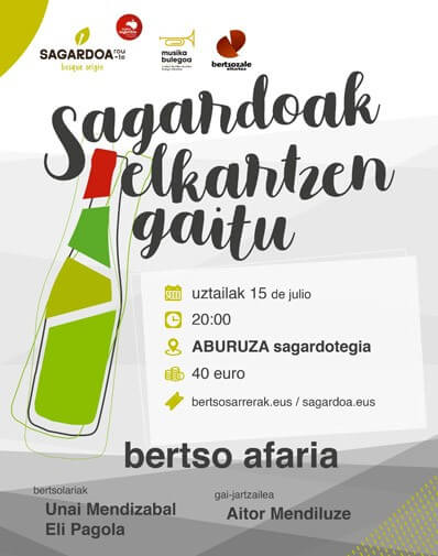 15/07/2020 20:00h. CENA CON BERTSOLARIS EN LA SIDRERÍA ABURUZA