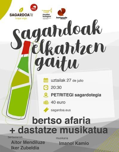 27/07/2020 20:30h. CENA Y CATA MUSICAL CON BERTSOLARIS EN LA SIDRERÍA PETRITEGI